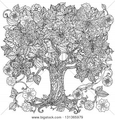 Uncoloured tree and butterfly for adult coloring book in famous zenart art-therapy antistress style. Hand-drawn, retro, doodle, vector, mandala style, uncoloured for coloring book or poster design.