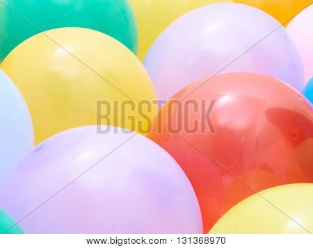 Balloons showing splendid colors closeup. Background of many colorful balloons.