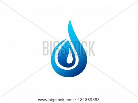 water drop logo, blue water dew symbol, letter d icon vector design.