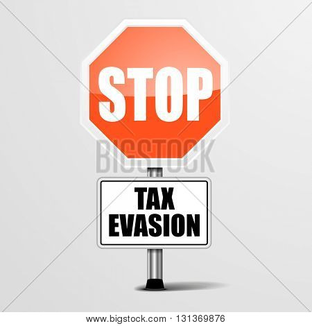 detailed illustration of a red stop tax evasion sign, eps10 vector