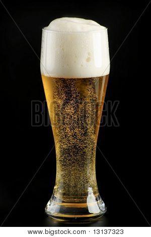 Mug of lager beer on black