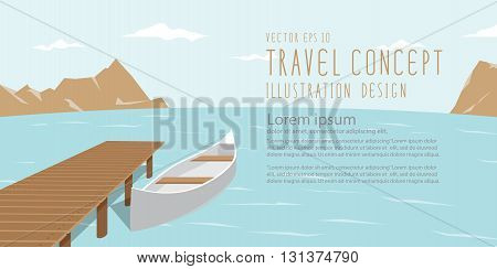 illustration vector banner landscape of lake mountains and canoe amidst the natural beauty of the resting day.