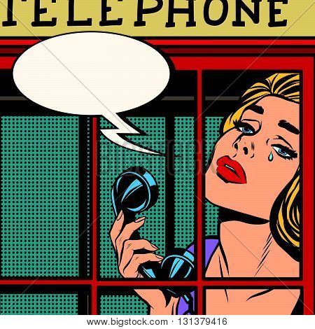 girl close-up crying in the red telephone booth retro pop art retro vector. English red telephone booth vector. Telephone and communications. The emotions of the girl sadness