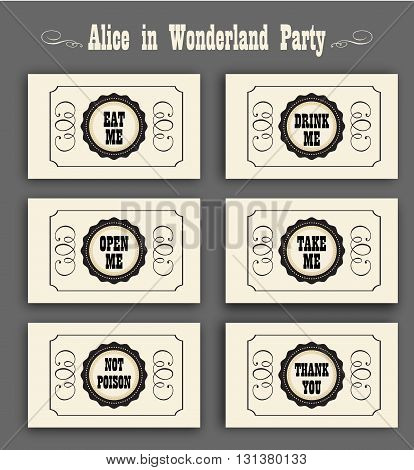 Alice in Wonderland vector set with labels Eat me, Drink me, Open me, Not poison, Thank you. ideal for decoration at a wedding Banquet or a birthday party.