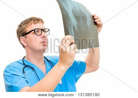 Radiologist Examines The Hip Part Of The Patient Carefully Shot On A White Background