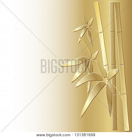 Stylized bamboo background, eps 10.Bamboo stem and leaves. Golden bamboo.