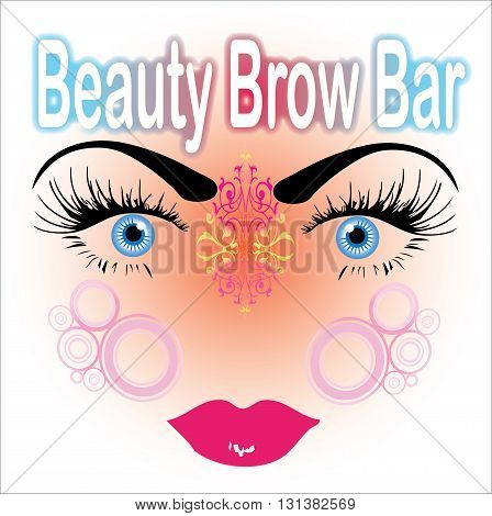 Beauty Brow Bar, surreal beautiful face with flawless eyebrows and big blue eyes. Excellent for the banner and logo