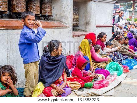 Kathmandu Nepal - May 212016 : Poor Nepali people are begging in Swayambhunath Stupa on Buddha Jayanti or Buddha's Birthday.