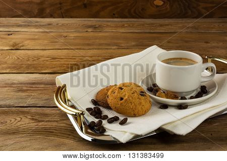 Coffee served on the serving tray. Coffee cup. Cup of coffee. Strong coffee. Coffee break. Coffee mug. Morning coffee.