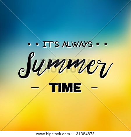 Summer Time Logo Template. Vector Typographic Design Label. Summer Holidays Lettering. Summer Party,