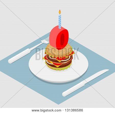 Zero Holiday Burger. Zero With Andle. Burger Anniversary Celebration. Festive Fast Food. Happy Holid