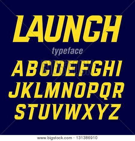 Launch typeface, modern bold industrial style font with movement. Vector.