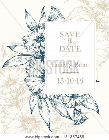 Hand drawn graphic floral card. Floral botanical vector frame. Wedding invitation Invitation Save the date RSVP Reception Thank you card template with floral bouquet background
