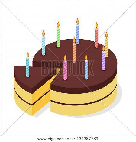 Chocolate Cake Birthday. Festive Candles On Pie. Piece Of Celebratory Cake Isometrics. 3D Delicious