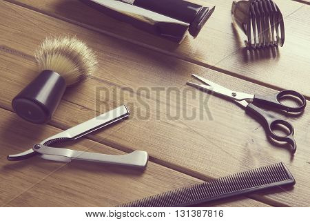 portrait of barber tools on wood top