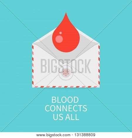 World Blood Donor Day poster with a blood drop and an envelope on blue background. Blood connects us all quote.