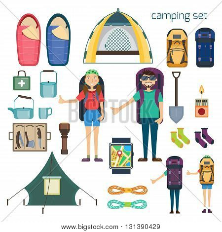 Travel hiking concept. Hitchhiker standing with big backpack. Hiking and camping  tourism equipment. Tent and sleeping bag, camping utensils. GPS navigator. Vector illustration. Flat cartoon style