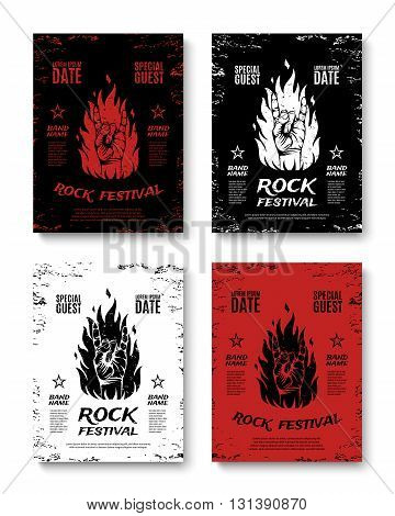 Set of four grunge, rock festival posters, with rock n roll sign and fire. Rock concert flyers. Rock band brochures. Vector illustration.