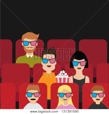 People sitting in movie theater eating popcorn. Love couple kids man children. Film show Cinema background. Viewers watching movie in 3D glasses. Red seats hall. Flat design Vector illustration