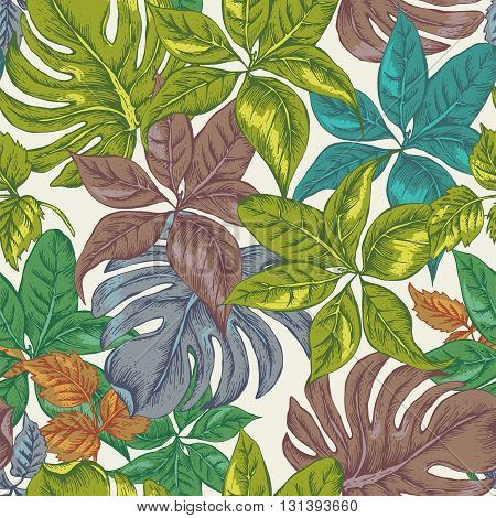 Vintage Seamless Exotic Background with Tropical Leaves, Vector Floral Botanical illustration