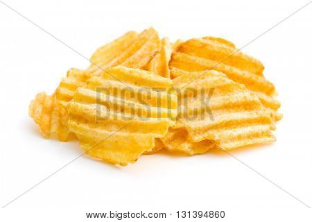 Crinkle cut potato chips isolated on white background.