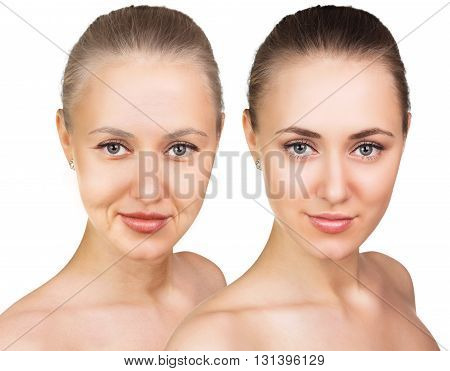 Woman's portrait isolated on white, 20, 60 years old.