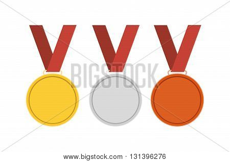 Gold medal. Silver medal. Bronze medal. Gold medal icon. Silver medal icon. Bronze medal icon. Medal set. Vector set. Isolated medal on the white background