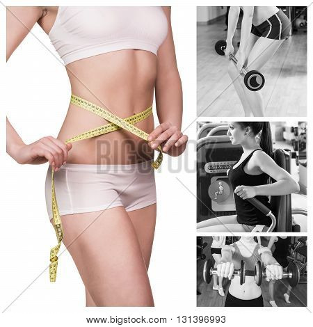 Collage of beautiful fitness model measures the waist and training at the gym isolated on wight