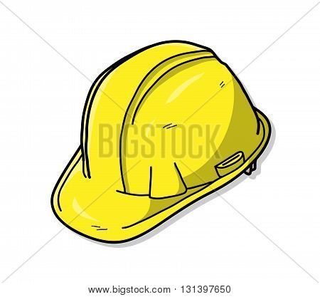 Hard Hat or Safety Hat, a hand drawn vector illustration of a hard hat.