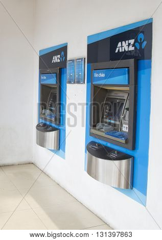 Hanoi, Vietnam - May 21, 2016: Close up of some automatic teller machine (ATM) of ANZ commercial bank in Hanoi capital. ANZ is one of Australia's four largest banks.