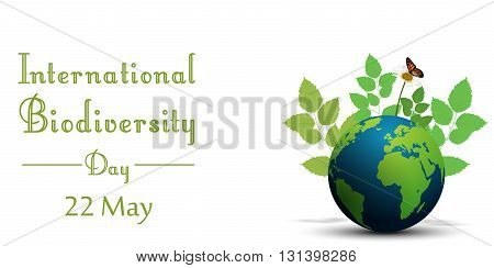 Vector illustration of Ribbon shape with leaves and butterflies on earth for international biodiversity day