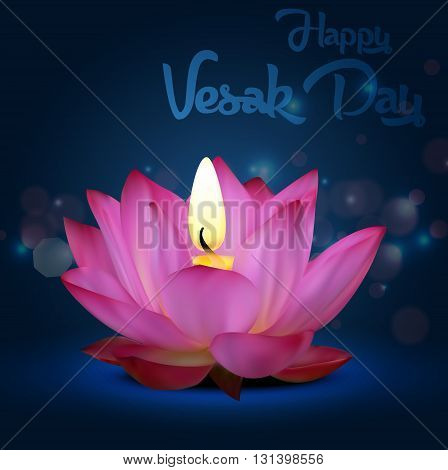 Vector illustration of Vesak Day on blue background