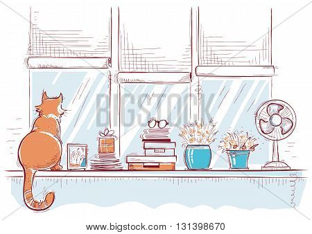 Windowsill With Home Love Objects And Cute Cat.hand Drawn Color Sketch Of Illustration.