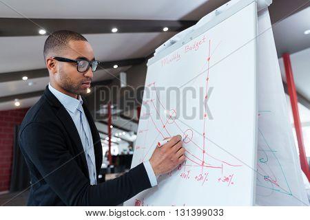 Businessman making presentation of a business plan on the flipchart