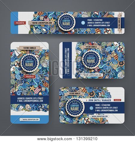 Corporate Identity vector templates set design with doodles hand drawn maritime theme. Colorful banner, id cards, flayer design. Templates set