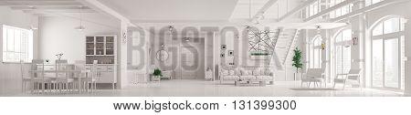 Modern White  Loft Apartment Interior Panorama 3D Render