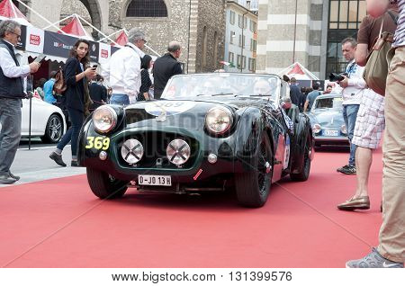 BRESCIA, ITALY - MAY 18: TRIUMPH TR2 SPORTS 1955 built on Mille Miglia,the famous race for retro cars, May 18,2016 in Brescia,Italy