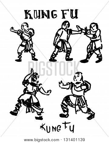 Hand drawn illustration of Kung Fu fighters.