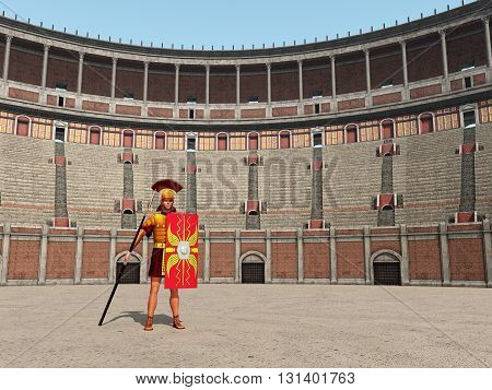 Computer generated 3D illustration with Centurion and Colosseum in ancient Rome