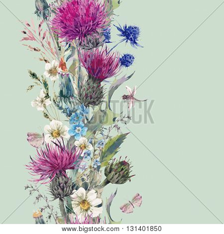 Vintage vertical herbal seamless border with Blooming Meadow Flowers-Thistles, Dandelions, Meadow Herbs, Chamomile and Dragonfly. Botanical Floral Vector Vintage Isolated Illustration on Mint