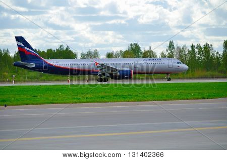 SAINT PETERSBURG RUSSIA - MAY 11 2016. Aeroflot Airbus A321 airplane -registration number VP-BDC. Airplane is riding on the runway after arrival at Pulkovo International airport