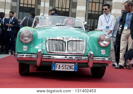 BRESCIA, ITALY - MAY 18: MG A 1957 built on Mille Miglia,the famous race for retro cars, May 18,2016 in Brescia,Italy