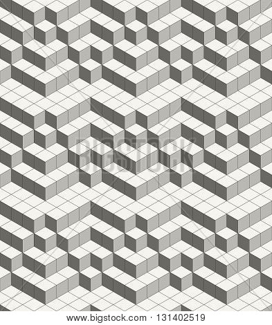 Modern abstract geometric ornamental texture with isometric structure of repeating cubes - vector seamless pattern