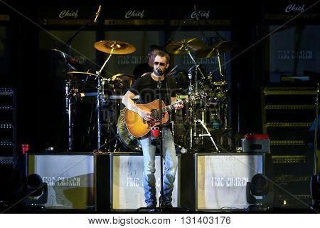 KISSIMMEE, FL-MAR 20: Singer Eric Church performs onstage at the Runaway Country Music Fest at Osceola Heritage Park on March 20, 2016 in Kissimmee, Florida.