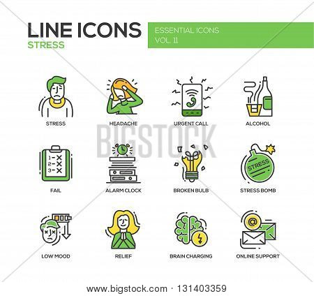 Set of modern vector line design icons and pictograms of stress and nervous breakdown. Headache, urgent call, alcohol, fail, alarm clock, low mood, relief, online support