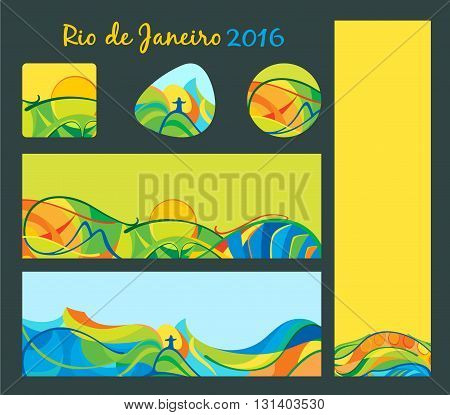 Rio 2016 - banners and buttons set vector template for web print and other projects