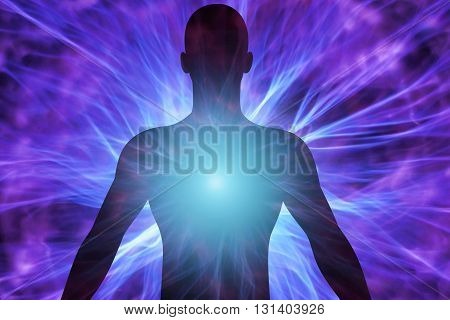 Human silhouette with rays of light and energy