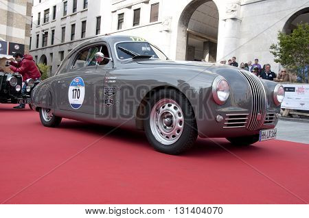 BRESCIA, ITALY - MAY 18: FIAT 1100 MM BERLINETTA 1948 built on Mille Miglia,the famous race for retro cars, May 18,2016 in Brescia,Italy