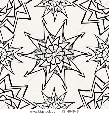 Vector seamless pattern. Modern stylish monochrome hand drawn fabric texture with structure of repeating floral elements.