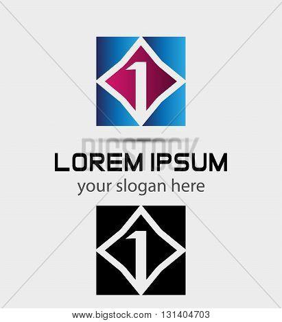 Logo number one, 1 icon template. Alphabet logotype vector design